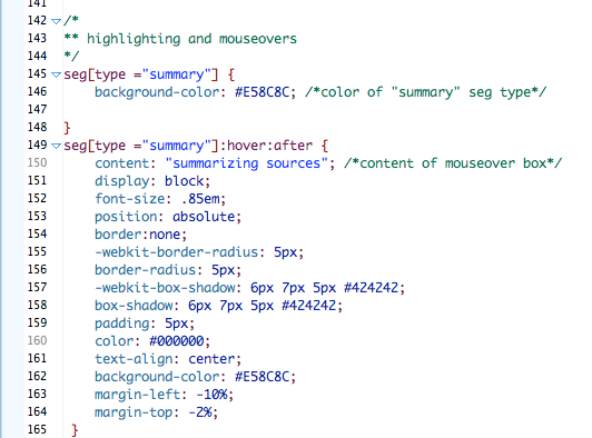 css seg type comments